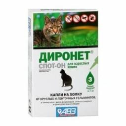 Агроветзащита Капли от блох, клещей и гельминтов Диронет Спот-он для кошек